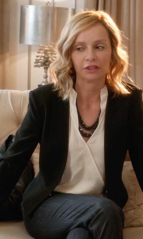 Calista Flockhart with Halogen Open Front Blazer in Supergirl