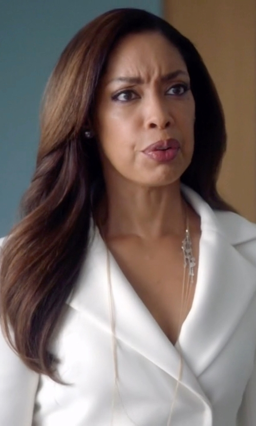 Gina Torres with Lord & Taylor White Pearl and Diamond Stud Earrings in Suits
