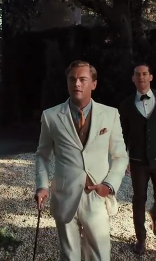 Leonardo DiCaprio with Catherine Martin (Costume Designer) and Brooks Brothers (Tailor) The Great Gatsby Collection Gold Ombre Plaid Tie in The Great Gatsby