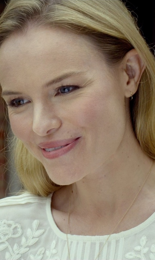 Kate Bosworth with Shop.com Micro Pave Small Oval Diamond Hoop Earrings in Before I Wake