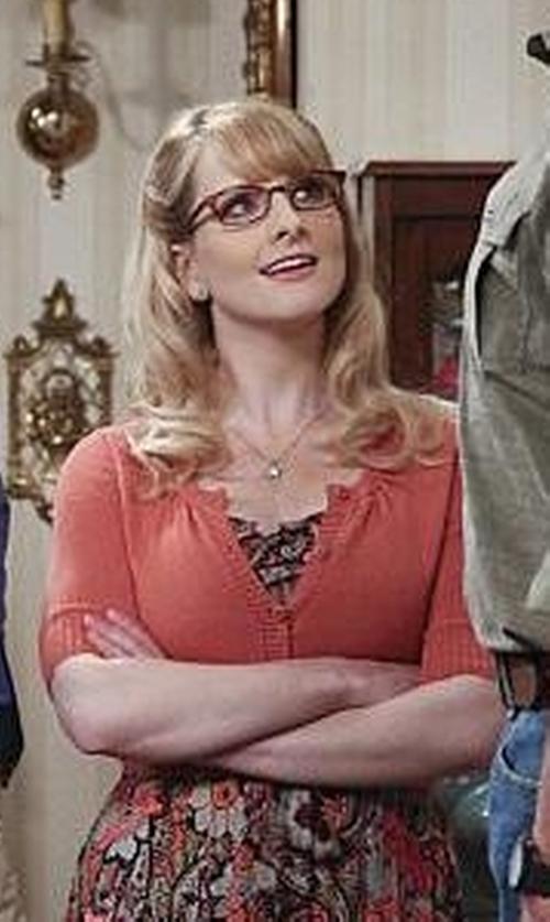 Melissa Rauch with Mara Carol Cropped V-Neck Cardigan in The Big Bang Theory