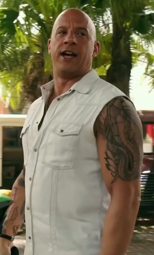 Vin Diesel with CD D C Dream Apparel Sleeveless Cotton Denim Shirt in xXx: Return of Xander Cage