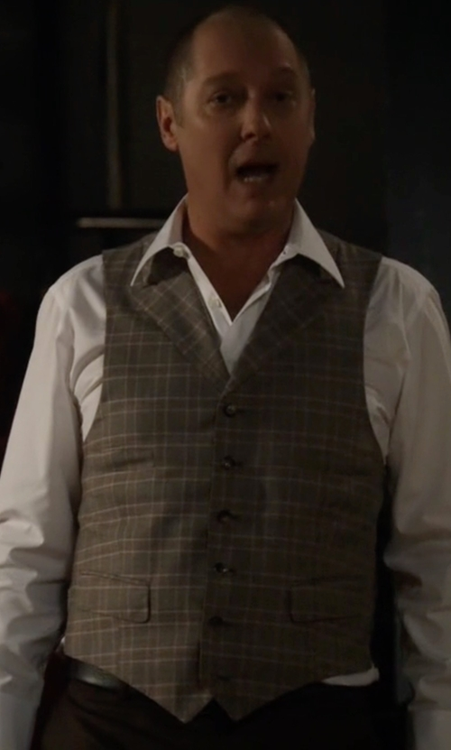 James Spader with River Island Slim Fit Vest With Check in The Blacklist