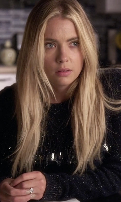 Ashley Benson with Thakoon Sequined Fringe Shimmer Sweater in Pretty Little Liars