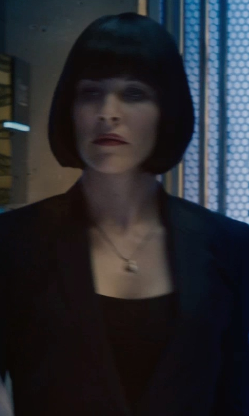 Evangeline Lilly with Akris Punto Essentials Jersey Square Neck Top in Ant-Man