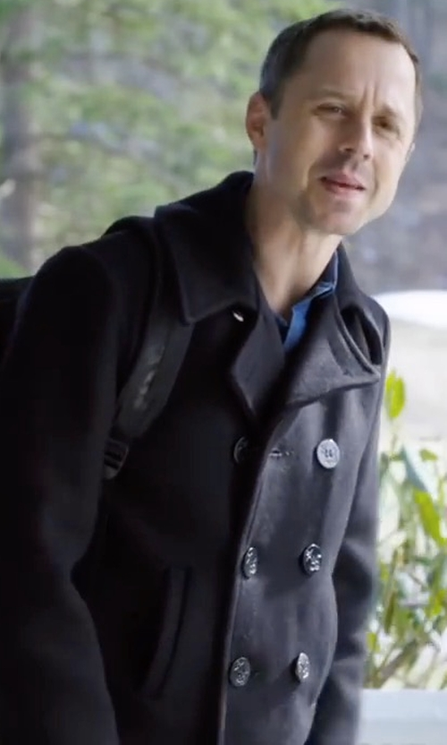 Giovanni Ribisi with Neiman Marcus Plaid Wool Pea Coat in Sneaky Pete