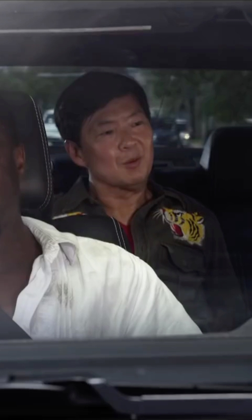 Ken Jeong with Denim & Supply Ralph Lauren Green Embroidered Military Shirt in Ride Along 2