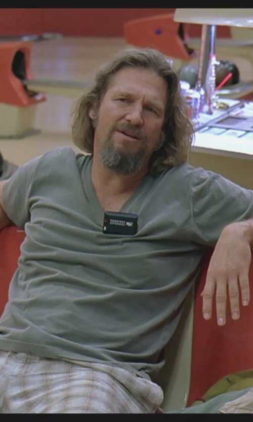 Jeff Bridges with James Perse Jersey T-Shirt in The Big Lebowski