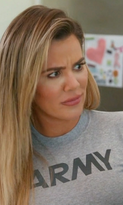 Khloe Kardashian with Joe's USA Vintage Army Logo T-Shirt in Keeping Up With The Kardashians