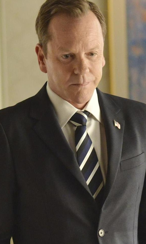 Kiefer Sutherland with Eton Striped Silk Satin Tie in Designated Survivor