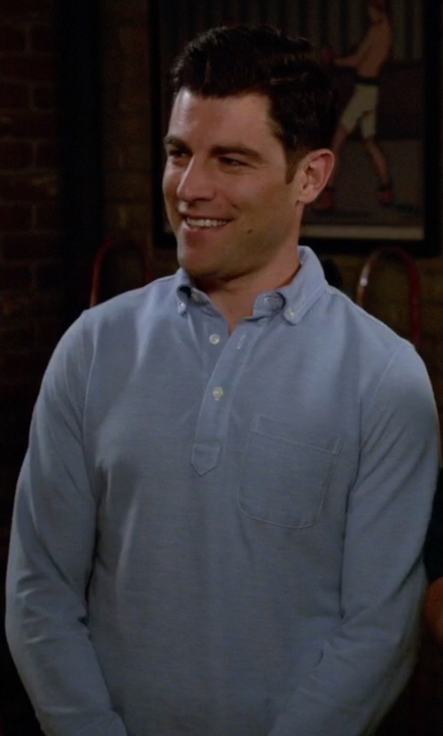 Max Greenfield with Bonobos Long Sleeve Pique Polo in New Girl