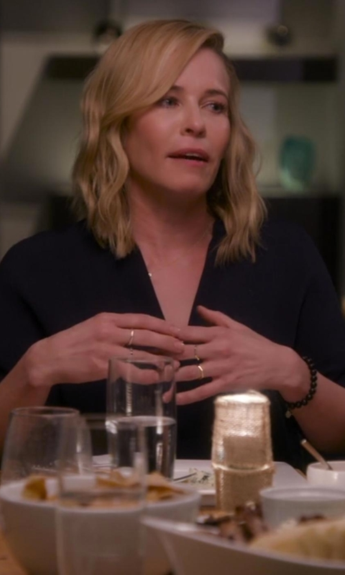 Chelsea Handler with T Tahari Taylor Roll Sleeve Blouse in Chelsea