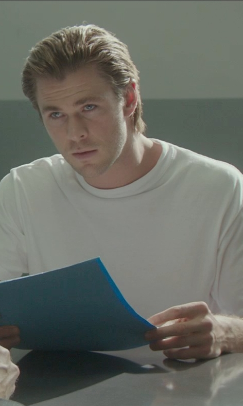 Chris Hemsworth with Stampd White Cotton Basic T-shirt in Blackhat