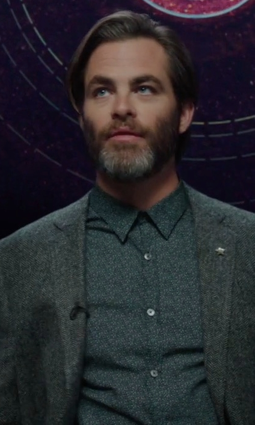 Chris Pine with Paul Smith Paisley-Print Cotton Shirt in A Wrinkle In Time