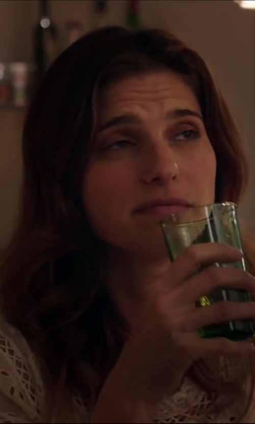 Lake Bell with Zadig & Voltaire 'Tame' Embellished Lace Top in Million Dollar Arm