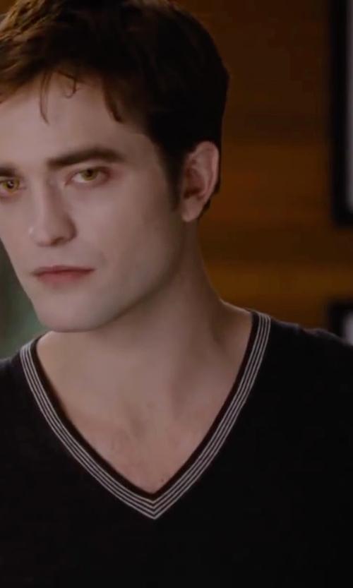 Robert Pattinson with Christopher Fischer V-Neck Cashmere Sweater in The Twilight Saga: Breaking Dawn - Part 2
