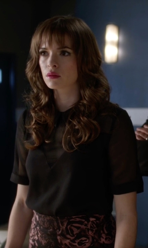 Danielle Panabaker with BCBGMaxazria Knit Lined Silk Blouse in The Flash