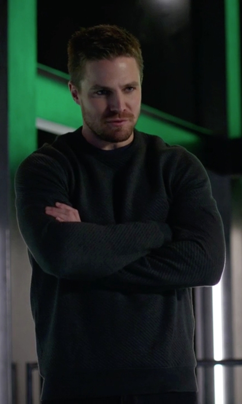 Stephen Amell with Barneys New York Cashmere Sweater in Arrow