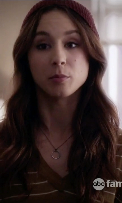 Troian Bellisario with Nadri Circle Pendant Necklace in Pretty Little Liars