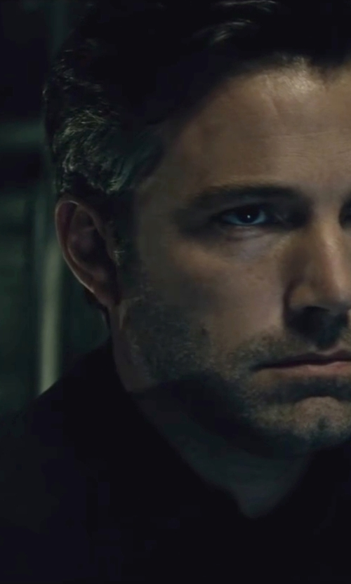 Ben Affleck with Gucci Custom Made Black Notch Lapel Suit in Batman v Superman: Dawn of Justice