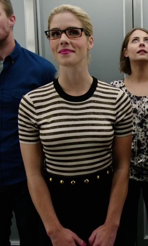 Emily Bett Rickards with Sandro Redlake Dress in Arrow