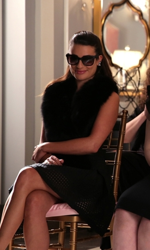 Lea Michele with Buji Baja Faux-Fur Collar Scarf in Scream Queens