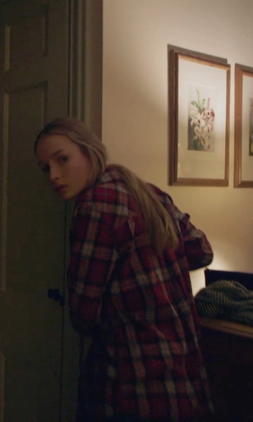 Olivia DeJonge with Sam Edelman Plaid Button-Down Shirt in The Visit