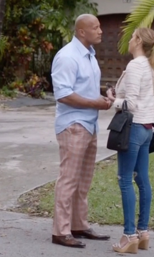 Dwayne Johnson with Clavon's Wear Clifford Orange with Green Plaid Suit in Ballers