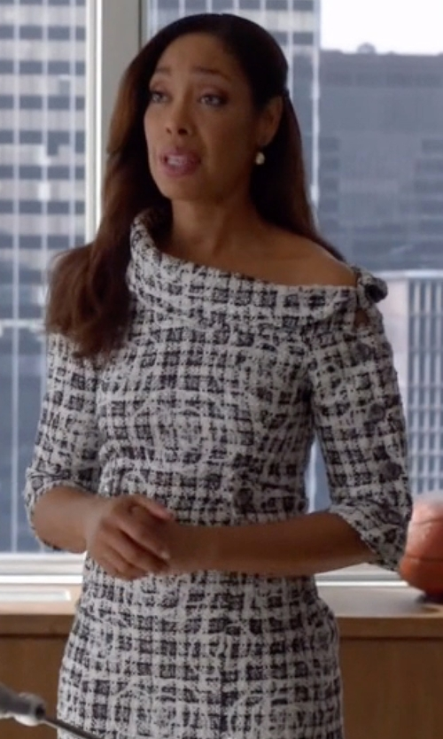 Gina Torres with Chanel Spring 2014 RTW Jacquard Textured Dress in Suits