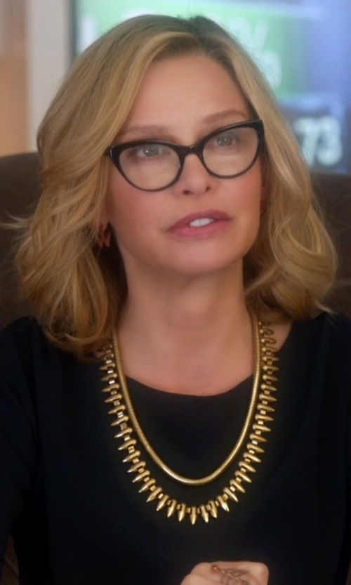 Calista Flockhart with Rachel Zoe 'Stella' Spike Collar Necklace in Supergirl
