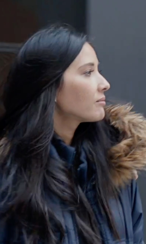 Olivia Munn with Rachel Rachel Roy Faux-Fur-Trim Puffer Coat in Office Christmas Party