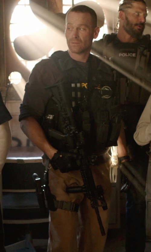 Max Martini with J.Crew WALLACE & BARNES HEAVYWEIGHT SIDE-BUCKLE PANT in Sabotage