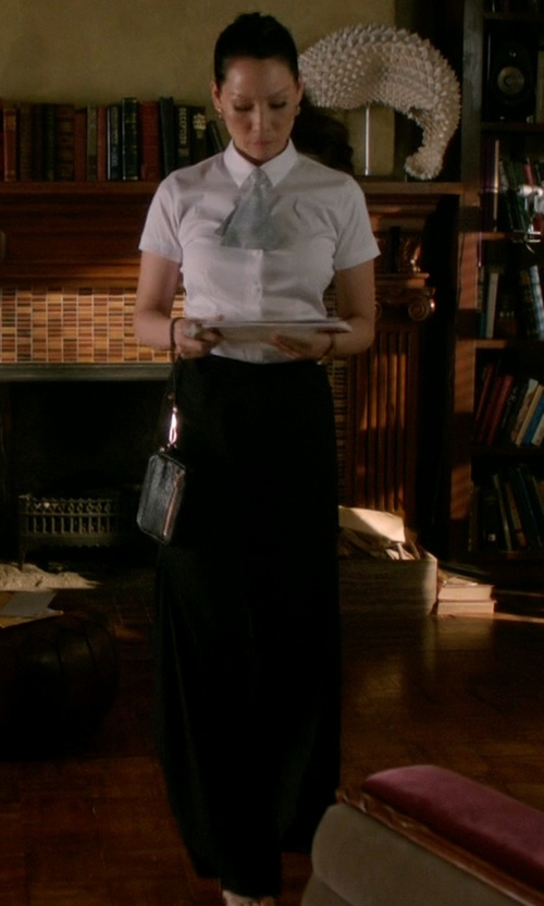 Lucy Liu with Rachel Zoe Rupert Wide Leg Pants in Elementary