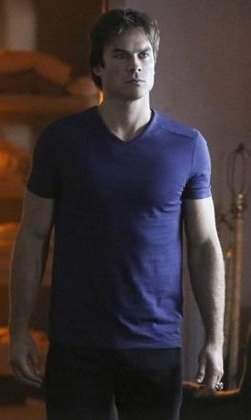 Ian Somerhalder with Express Stretch Cotton V-Neck Tee in The Vampire Diaries