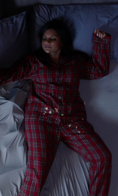 Mindy Kaling with Ralph Lauren Plaid Cotton Pajama Set in The Mindy Project
