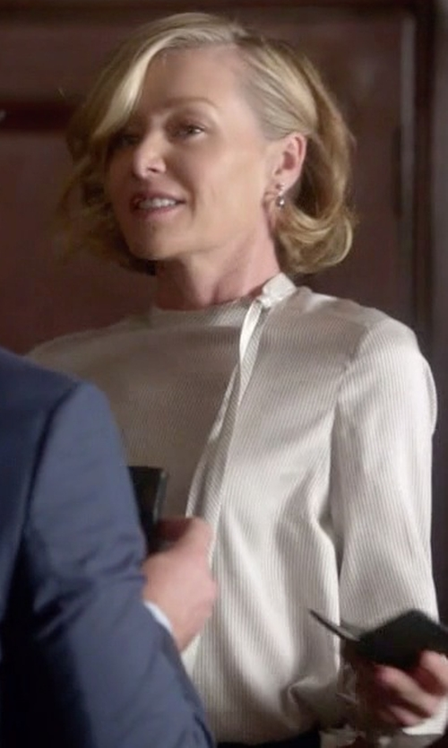 Portia de Rossi with Magaschoni Tie-Neck Silk Blouse in Scandal