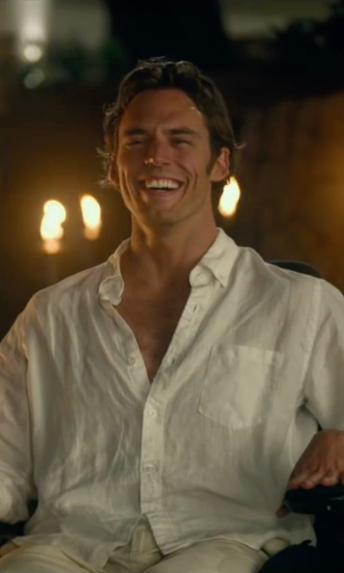 Sam Claflin with J.Crew Factory Slim Linen Shirt in Me Before You