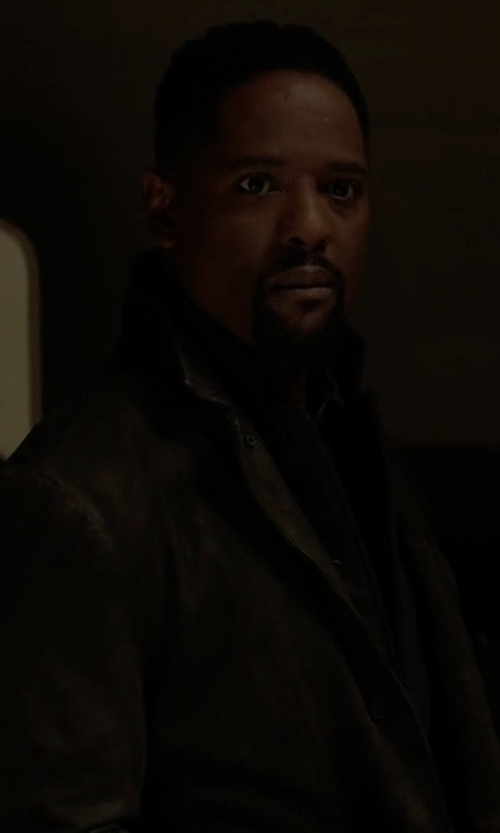 Blair Underwood with Eleventy Single-Breasted Wool Car Coat in Quantico