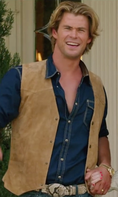Chris Hemsworth with Cripple Creek Mens  Suede Leather Snap Front Vest in Vacation