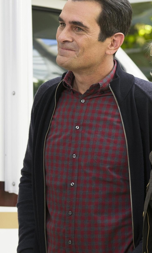 Ty Burrell with Vince Melange Gingham Woven Shirt in Modern Family