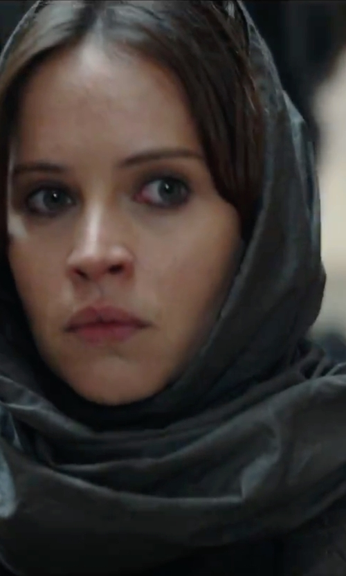 Felicity Jones with Silk and Cashmere  Oblong Scarf in Rogue One: A Star Wars Story