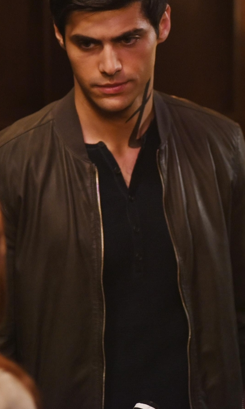 Matthew Daddario with Andrew Marc Hughes Leather Baseball Jacket in Shadowhunters