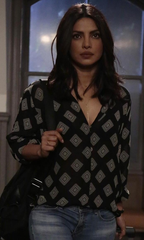 Priyanka Chopra with Equipment Leema Silk Floral-Print Shirt in Quantico