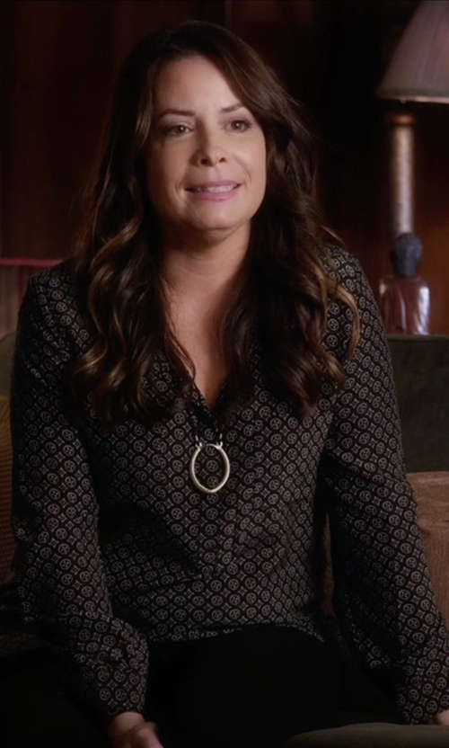 Holly Marie Combs with Joie Nepal Print Silk Blouse in Pretty Little Liars