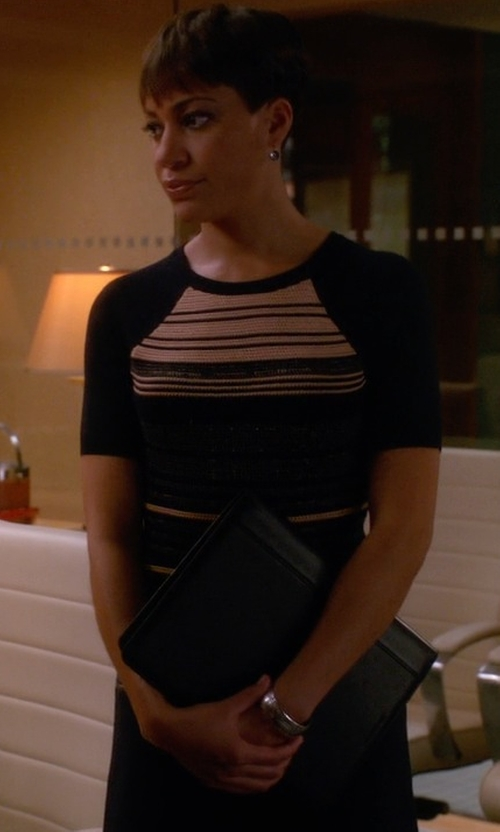 Cush Jumbo with Julia Jordan Mixed Stripe Knit Sheath Dress in The Good Wife