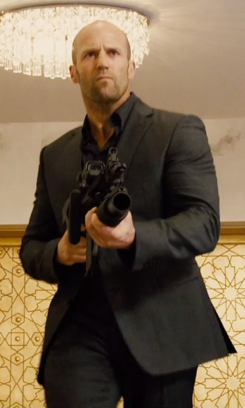 Jason Statham with Dolce & Gabbana Martini Stretch-Wool Suit in Furious 7