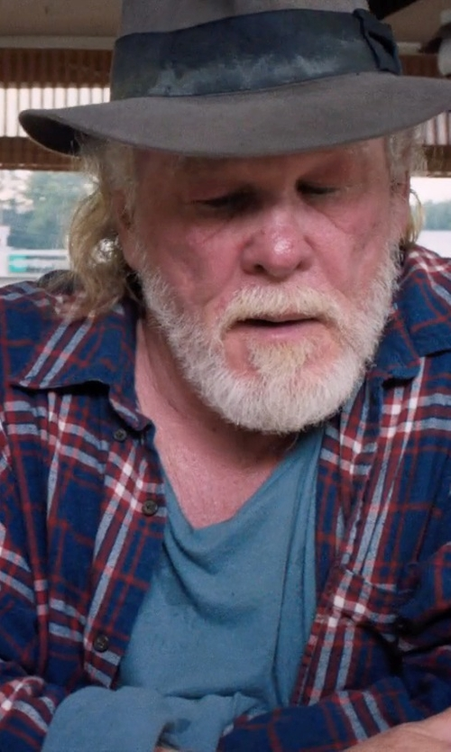 Nick Nolte with Kent and Curwen Linen Plaid Button Down Shirt in A Walk in the Woods