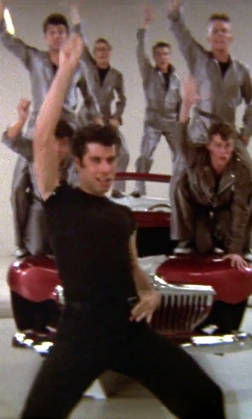 John Travolta with Tommy Hilfiger Men's Flat-Front Suit Separate Pants in Grease