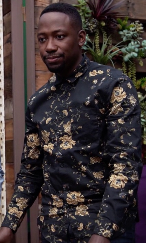 Lamorne Morris with Your Neighbors Ornate Floral Button-Down Shirt in New Girl