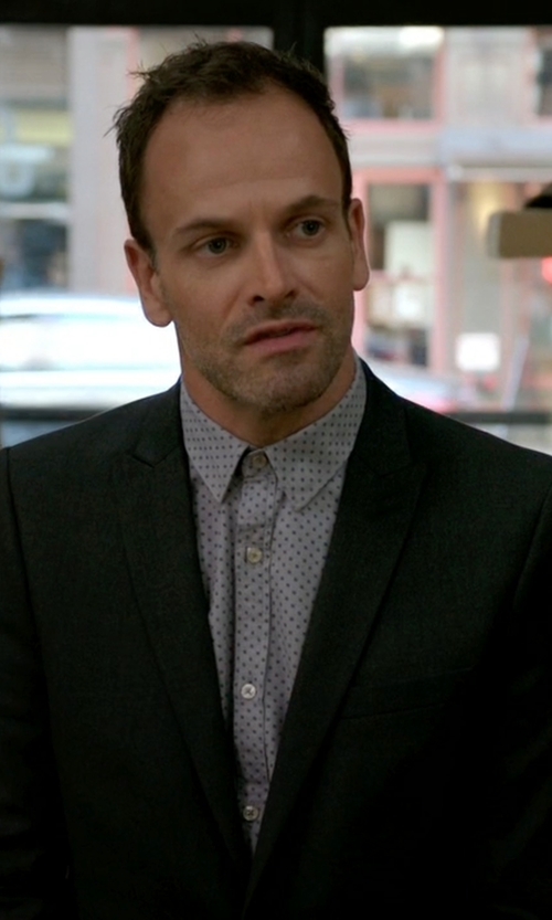 Jonny Lee Miller with Cego Custom Made Micro Dot Button Shirt in Elementary